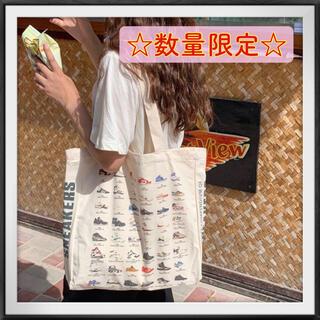 【値下げ】スニーカー柄 キャンバス トートバッグ おしゃれ 韓国 カメラ
