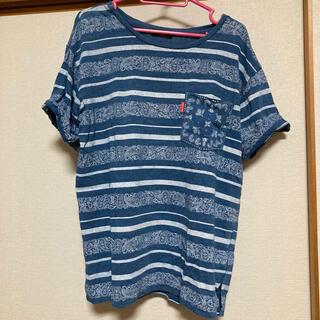 ロデオクラウンズワイドボウル(RODEO CROWNS WIDE BOWL)のロデオ ペイズリー柄デニムTシャツ(Tシャツ(半袖/袖なし))