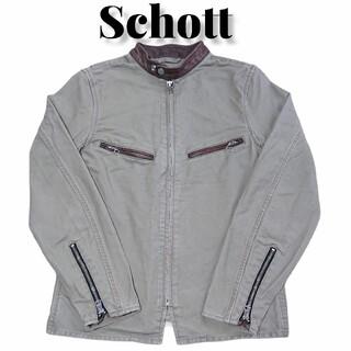 ショット(schott)のSchottレザー切り替えシングルライダースジャケット古着ショット牛革(ライダースジャケット)