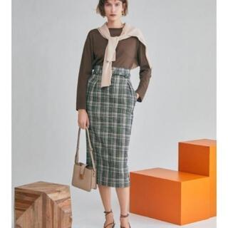 ミラオーウェン(Mila Owen)の最安値 美品 MilaOwen ツイードチェックスカート 緑(ロングスカート)