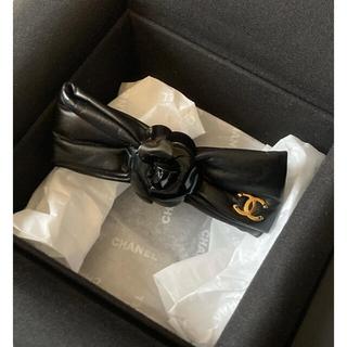 CHANEL - シャネル❤レザーリボン カメリア バレッタ