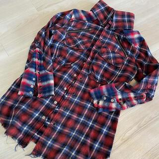 ルグランブルー(LGB)のLGB シャツ 7部袖赤青チェック サイズ0(シャツ)