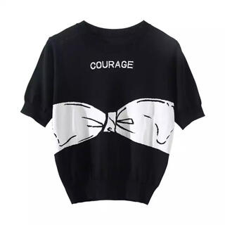 フレイアイディー(FRAY I.D)の半袖 Tシャツ 黒 ブラック リボン 柄 トップス カットソー 薄手 ニット(ニット/セーター)