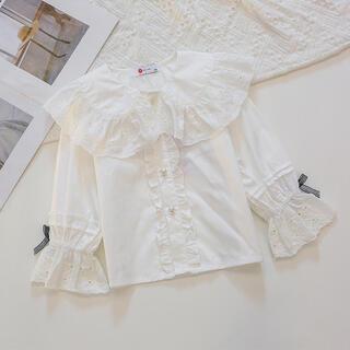 新作 トレンド フリル襟 刺繍生地 ブラウス ホワイト トップス シャツ
