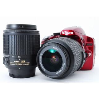 ニコン(Nikon)の1277 Nikon D3200 red ダブルズーム ニコン(デジタル一眼)