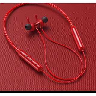 ネックバンドBluetooth5.0ワイヤレスイヤホン  カラー//レッド