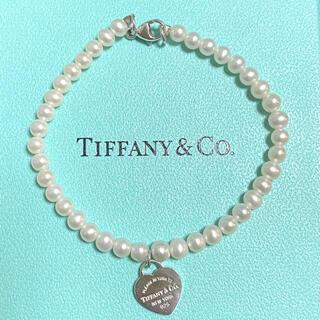 Tiffany & Co. - ティファニー ビーズ ブレスレット ハートタグ パール 白