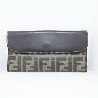 フェンディ(FENDI)のフェンディ 長財布 ズッカ柄 ベージュ×黒(財布)