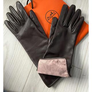 エルメス(Hermes)のエルメス 手袋 レザー シルク グローブ(手袋)