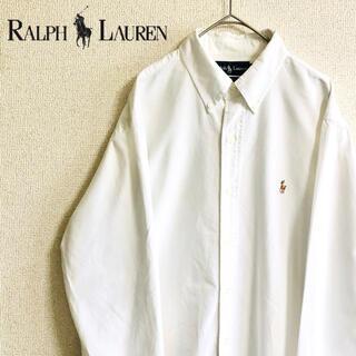 Ralph Lauren - 《ラルフローレン》ホワイトシャツ 刺繍ロゴ BDシャツ 長袖シャツ メンズ 古着