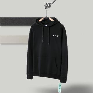 OFF-WHITE - 2枚1000円引 OFF WHITE#082802 ロゴ付き パーカー  黒
