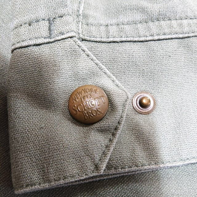 schott(ショット)のSchottスカル刺繍ジャケット スイングトップ ショット 古着 カーキ メンズのジャケット/アウター(ブルゾン)の商品写真