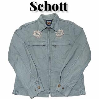ショット(schott)のSchottスカル刺繍ジャケット スイングトップ ショット 古着 カーキ(ブルゾン)