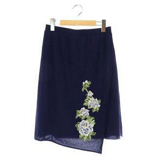 ヴィヴィアンタム(VIVIENNE TAM)のヴィヴィアンタム スカート Aライン 花柄 刺繍 1 紺 ネイビー(ひざ丈スカート)