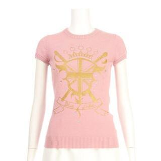 バーバリー(BURBERRY)のバーバリー 半袖セーター サイズS ピンク系(ニット/セーター)