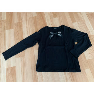 ピンクハウス(PINK HOUSE)のPINK HOUSE  ロゴリボン長袖シャツ 黒 M(Tシャツ(長袖/七分))
