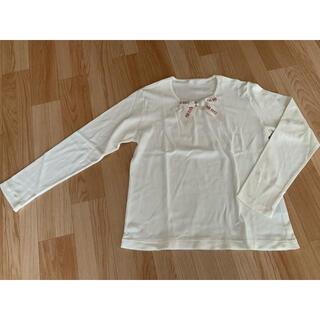 ピンクハウス(PINK HOUSE)のPINK HOUSE ロゴリボン長袖シャツ 白(Tシャツ(長袖/七分))