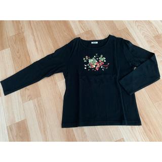 ピンクハウス(PINK HOUSE)のPINK HOUSE ラズベリー柄長袖シャツ 黒(Tシャツ(長袖/七分))