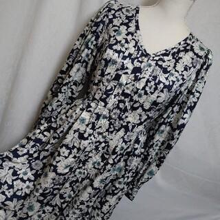 マウジー(moussy)の新品未使用タグ付 マウジー 花柄が素敵な長袖マキシロングワンピース 紺色 9号(ロングワンピース/マキシワンピース)