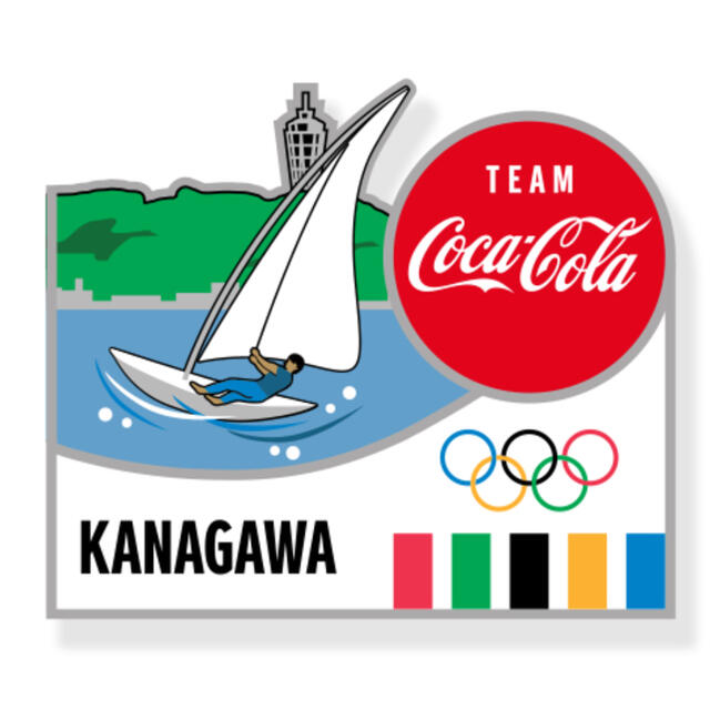 コカ・コーラ(コカコーラ)のコカコーラ 東京オリンピック ピンバッジ 都道府県 神奈川県 エンタメ/ホビーのアニメグッズ(バッジ/ピンバッジ)の商品写真