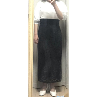 スピックアンドスパンノーブル(Spick and Span Noble)のNOBLE 総レースタイトスカート(ロングスカート)