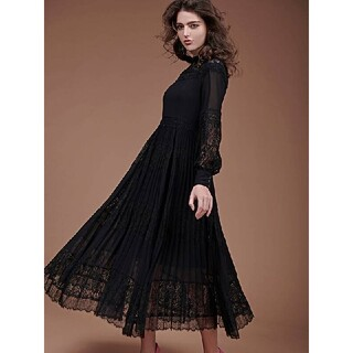eimy istoire - lace combi pleated dress (M♥️BLACK)