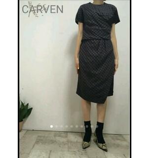 カルヴェン(CARVEN)の美品カルヴェンチェックシャツレース使いワンピ/45Rオーラリー コムデギャルソン(ひざ丈ワンピース)