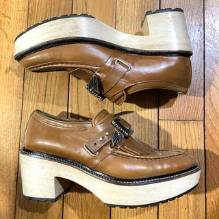 トーガ(TOGA)のTOGA PULLA ウッドソールキルトシューズ ローファー 37(ローファー/革靴)