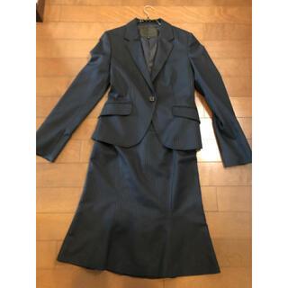 untitled 濃紺スーツ 上品光沢ストライプ サイズ2