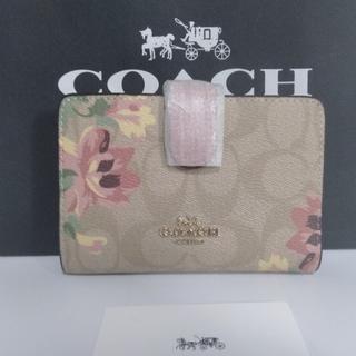 COACH - 送料込 coach 折り畳み財布 二つ折り財布 シグネチャー 花柄 花 春財布