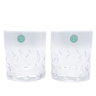 ティファニー(Tiffany & Co.)のティファニー  グラス  リーフデザイン ペアロックグラス   透明(グラス/カップ)