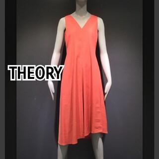 theory - ▲中古美品▲Theory ローズカラー  Vネック 上品アシンメトリーワンピース