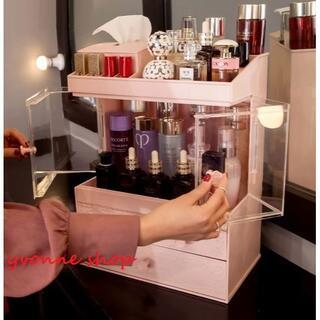 メイクボックス コスメボックス 化粧品収納ケース 小物収納ボックス.ピンク(メイクボックス)