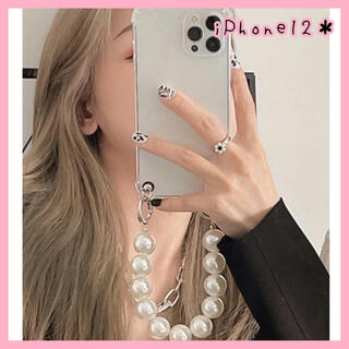 【新品未使用♡】iPhone12ケース パール クリア チェーンストラップ 韓国