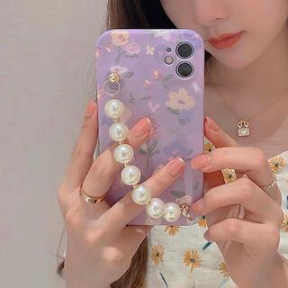 iPhoneケース スマホケース カバー チェーン付き パール 韓国 ストラップ