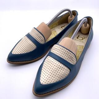 アシナガオジサン(あしながおじさん)の【美品】あしながおじさん フラットシューズ 24.5cm ブルー 靴(ローファー/革靴)