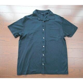 バナナリパブリック(Banana Republic)の美品 バナナリパブリック ニットシャツ L 黒 ポロシャツ風(シャツ)