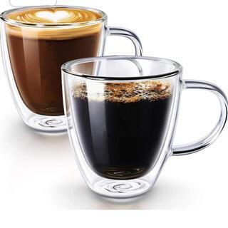 新品 2個セット 2層断熱 ティーカップ コーヒーカップ コースター付き