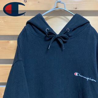 チャンピオン(Champion)のChampion パーカー プルオーバー ブラック 刺繍ロゴ ビッグシルエット(パーカー)