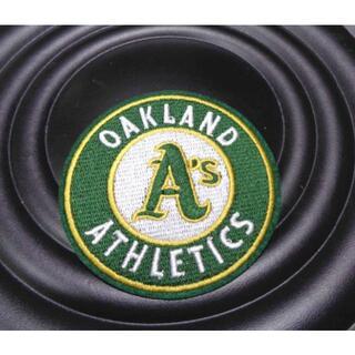 緑黄(円型)▽MLB オークランドアスレチックス野球ベースボールワッペン新品