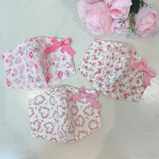 キッズサイズ♡ピンク花柄のインナーマスク3枚セット♡子供