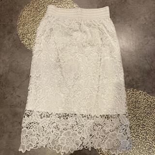 アンティカ(antiqua)の白レースコクーンスカート(ひざ丈スカート)
