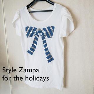 zampa - 【9/30終了】ザンパ|Tシャツ ブルーリボン スパンコール ホワイト 春夏