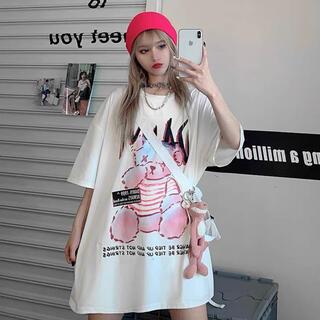 ラスト★病みかわ 熊 ビッグシルエット Tシャツ 原宿 韓国 メンズ レディース