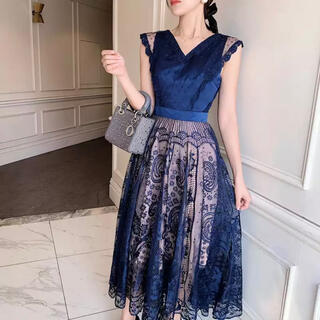 GRACE CONTINENTAL - ワンピース ネイビー ブルー 青 ノースリーブ ワンピ スカート ドレス レース