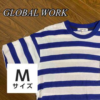 グローバルワーク(GLOBAL WORK)の青白ボーダー 半袖Tシャツ メンズ グローバルワーク(Tシャツ/カットソー(半袖/袖なし))