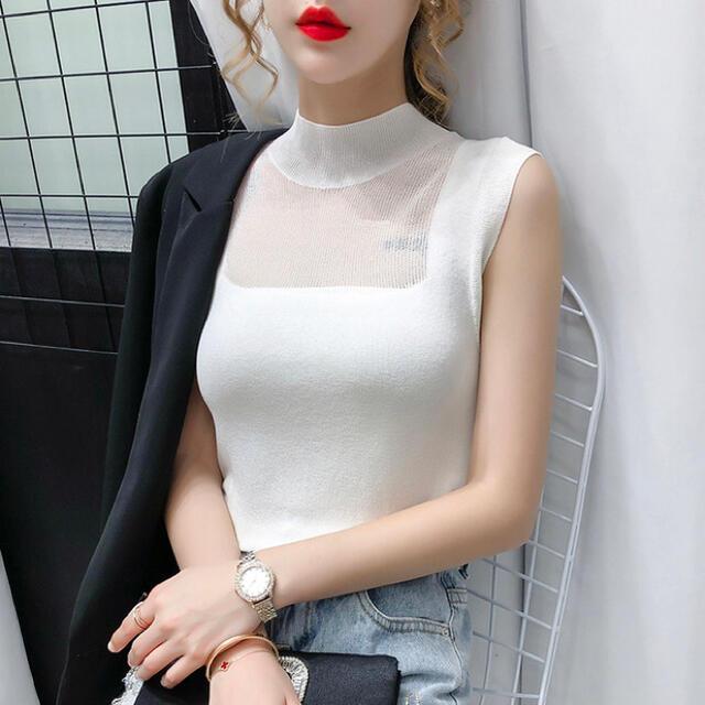 GYDA(ジェイダ)の【残り1点】デコルテシースルーデザイントップス(ホワイト) レディースのトップス(タンクトップ)の商品写真