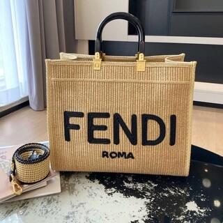 FENDI - fendi フェンディ サンシャインストロー素材 バッグ 2021SS