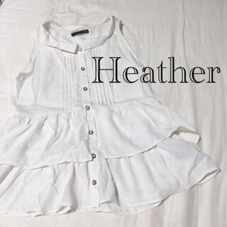 ヘザー(heather)のHeather ヘザー ノースリーブ 襟付き トップス クリームカラー(シャツ/ブラウス(半袖/袖なし))