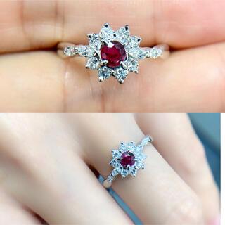 ☆送料込☆上品繊細キラキラ0.4ctダイヤモンド0.22ルビーpt900リング(リング(指輪))